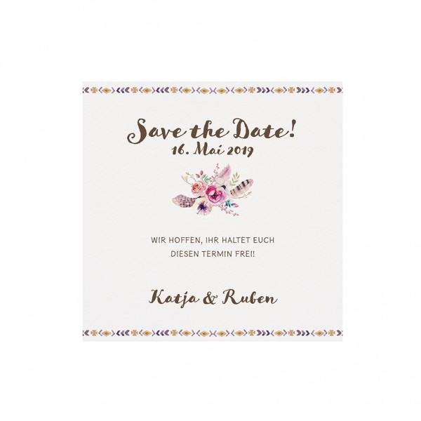 "Dankkarte/Save-the-Date ""Bohemian-Blumen"""